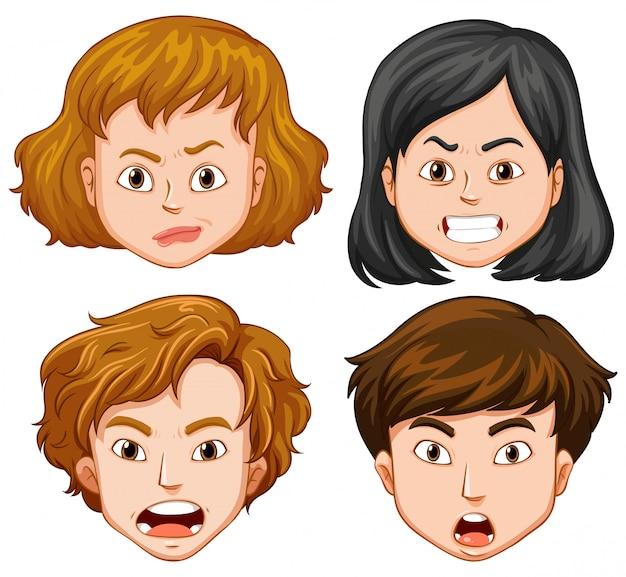 異なる顔の感情を持つ人々