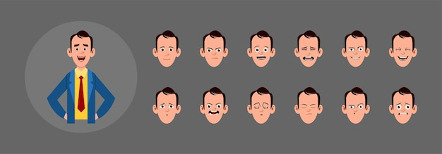 People with different facial expression.  different facial emotions for custom animation, motion or design.