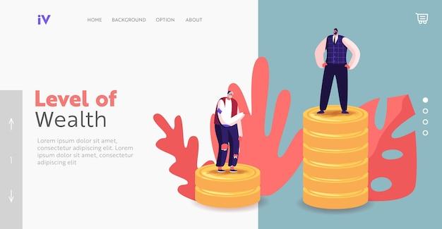 所得階級の異なるランディングページテンプレートを持つ人々。失業中の乞食と金持ちのビジネスマンのキャラクターは、黄金のコインの山の上に立っています。給与と財務の階層。漫画のベクトル図
