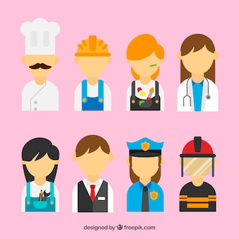 People with different jobs background in flat style