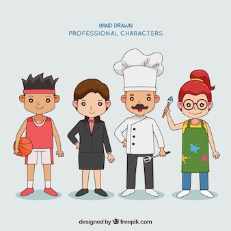People with different jobs in hand drawn style