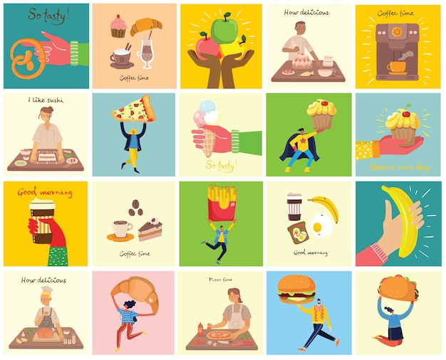 People with different meals - pizza, cupcake, hamburger and taco