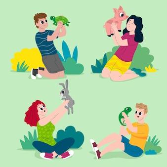 Persone con diversi animali domestici concetto