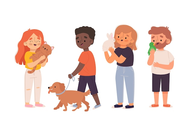 People with different pets concept