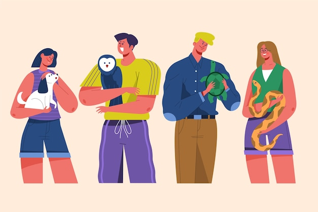 People with different pets illustration