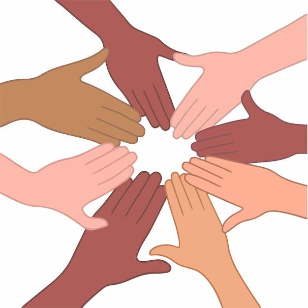 白い背景の上の手を一緒に置く異なる肌の色を持つ人々フラットベクトルアート