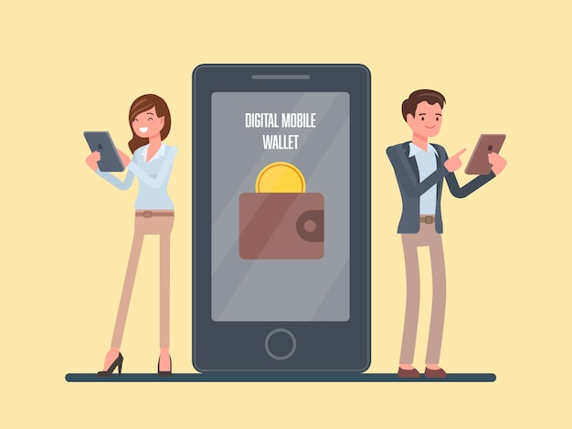People with digital mobile wallet concept