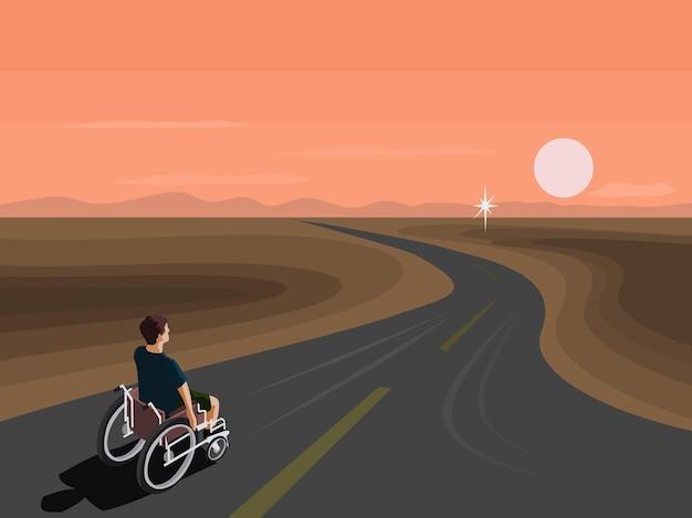 장애인들은 목표를 향해 길을 따라 휠체어를 타고 있다