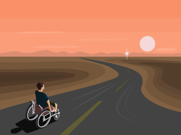 People with disabilities are riding on a wheelchair along the road towards their goals
