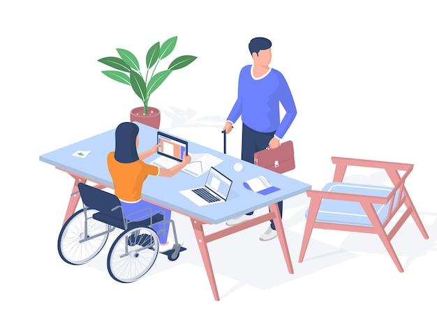 Люди с ограниченными возможностями получают образование. женщина в инвалидной коляске с уроком изучения планшета. мужчина с портфелем, опираясь тростью, стоит возле стола. дистанционное обучение онлайн. векторная реалистичная изометрия