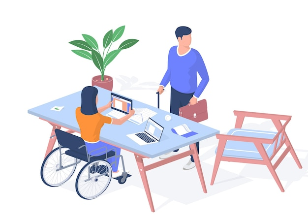 People with disabilities receive education. woman in wheelchair with tablet studying lesson. man with briefcase leaning cane stands near table. distance learning online. vector realistic isometry