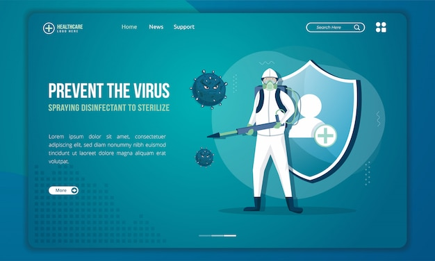 People with disinfectant sprayers to sterilize the virus on landing page