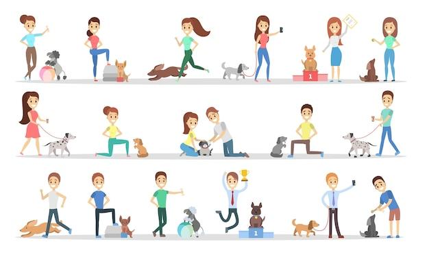 Набор людей с собаками.