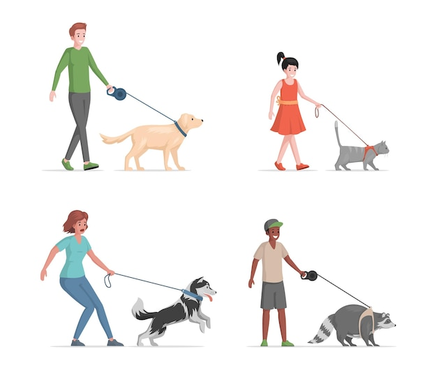 People with domestic pets flat illustration isolated on white background.