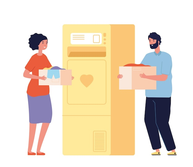 寄付箱を持っている人。衣類のチャリティーバンクまたはごみ箱。幸せな男性の女性は服を寄付し、孤立したボランティアはイラストをベクトルします。慈善と寄付、のれんの世話と支援