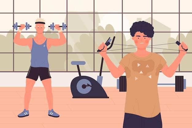 Люди с гантелями в тренажерном зале, тренируют мышцы.