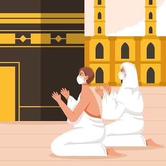 Люди с маской для лица на иллюстрации паломничества хаджа