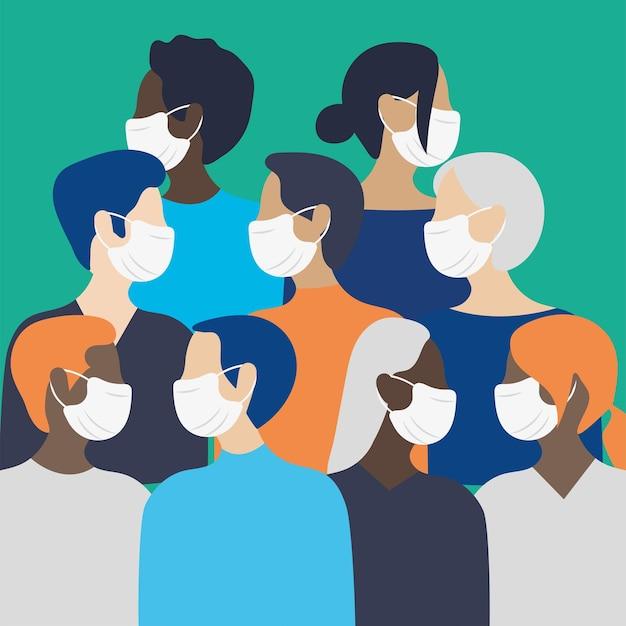 Люди с дизайном масок