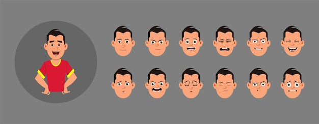 People with facial emotion.  different facial emotions for custom animation, motion or design.