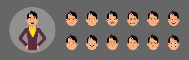 People with facial emotion set.  different facial emotions for custom animation, motion or design.