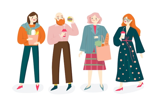Persone con raccolta di illustrazioni di cibo