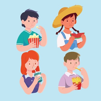 People with food illustration concept