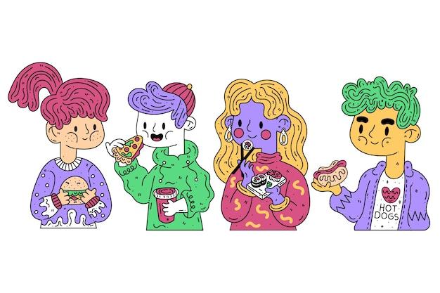Persone con il concetto di illustrazione di cibo