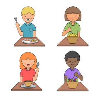 People with food illustration theme