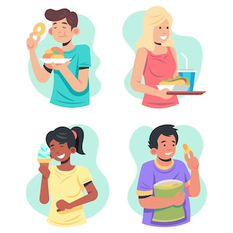 People with food illustration