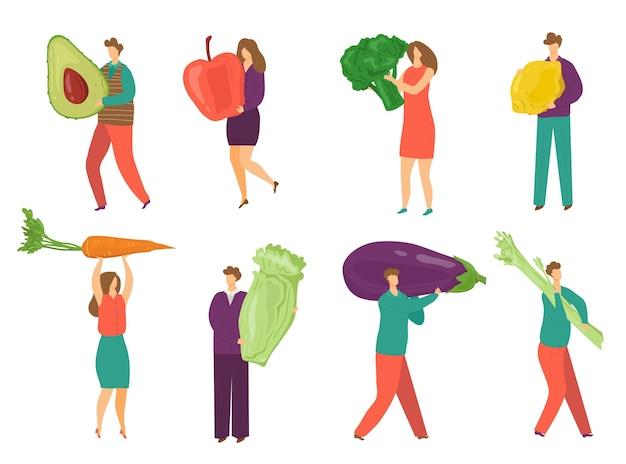白いセットのベクトル図に分離された食用野菜を持つ人々小さな男性女性のキャラクターはfを保持します...