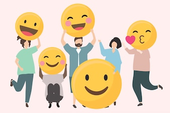 People with funny and happy emojis illustration