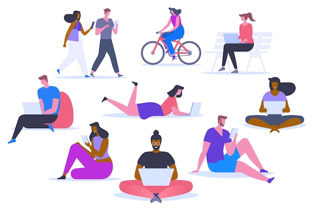 People with gadgets flat vector illustrations set. happy men and women using digital devices cartoon characters. distance education, remote job design elements. modern technology for work and leisure