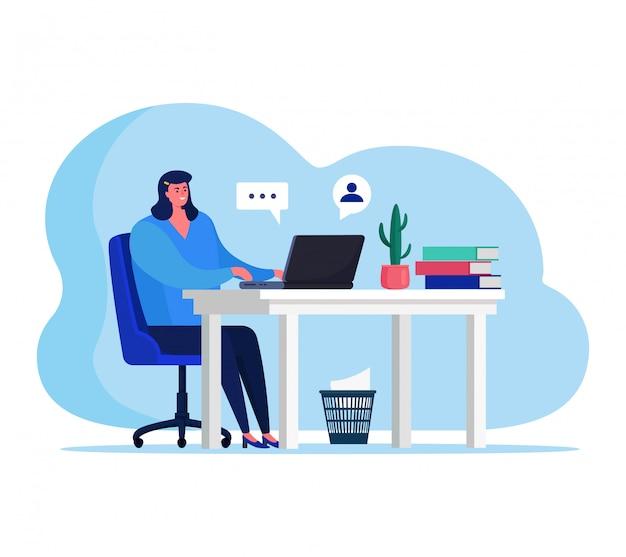 Люди с гаджетами иллюстрации, мультипликационный персонаж женщина сидит за столом, улыбаясь и общаться с другом на белом