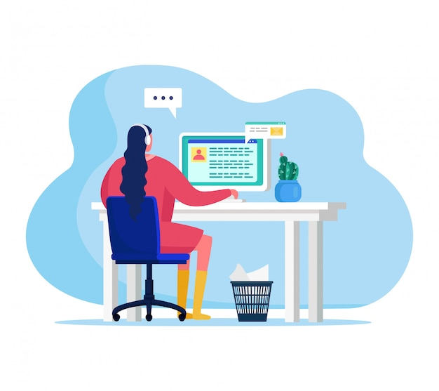 People with gadgets  illustration, cartoon  woman character sitting at table, reading email on screen desktop  on white