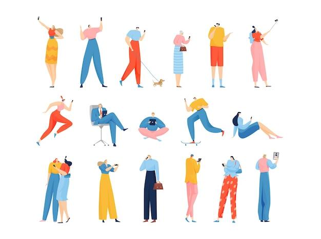 Люди с гаджетами набор изолированных иллюстраций