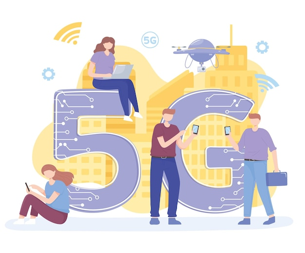 Люди с гаджетами используют высокоскоростной интернет, иллюстрация беспроводной сети 5g