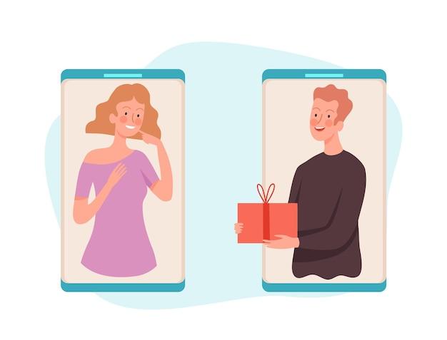 Люди с подарком. мужчина дает коробку женщине, онлайн-сервис векторные иллюстрации. подарочная коробка онлайн, женский сюрприз, день рождения