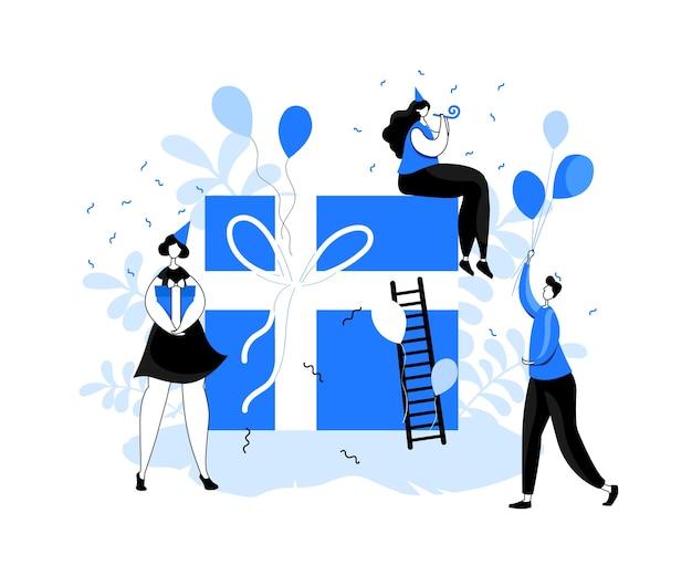 Люди с подарками. концепция партии. мужчины и женщины празднуют великий дар