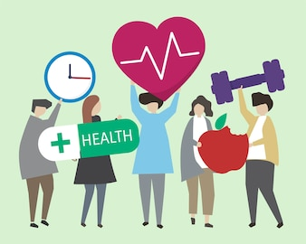 People with healthy lifestyles illustration