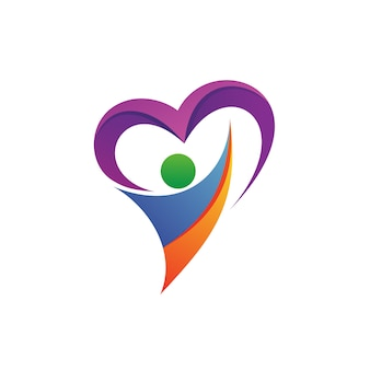People with heart logo vector