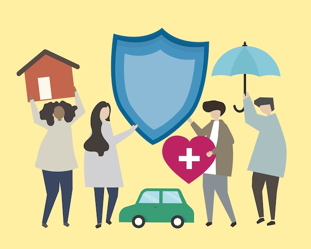 People with insurance icons illustration