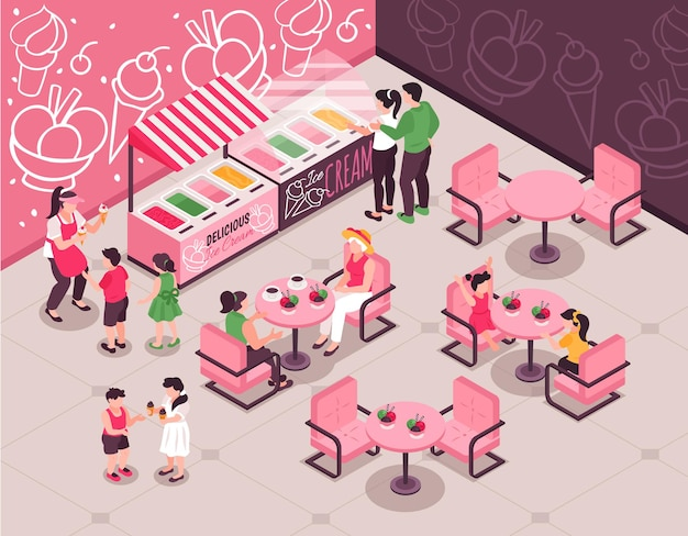 People with kids choosing and eating ice cream at cafe with pink tables and chairs 3d isometric illustration