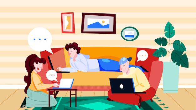 Люди с портативным компьютером дома. персонаж работает на ноутбуке. женщина за столом, фрилансер на диване. иллюстрации шаржа