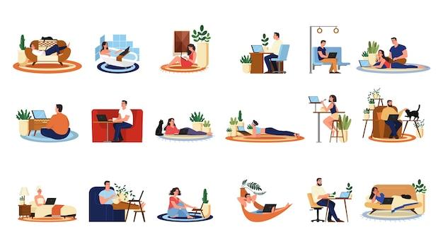Люди с набором портативного компьютера. коллекция персонажей, работающих на ноутбуке. женщина за столом, фрилансер на диване. иллюстрация