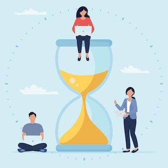 People with laptop sits on an hourglass and work on their business process. business concept. deadline concept with small people characters.  illustration in flat style