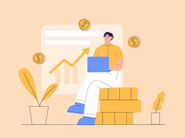 Люди с ноутбуком, сидя за монетой, делают инвестиционную иллюстрацию