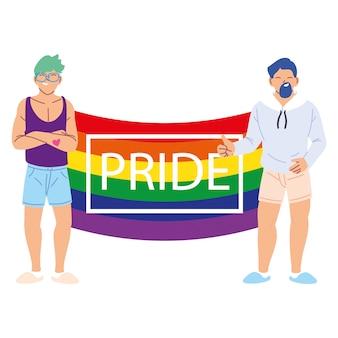 Люди с флагом гордости лгбтк, равенство и права геев