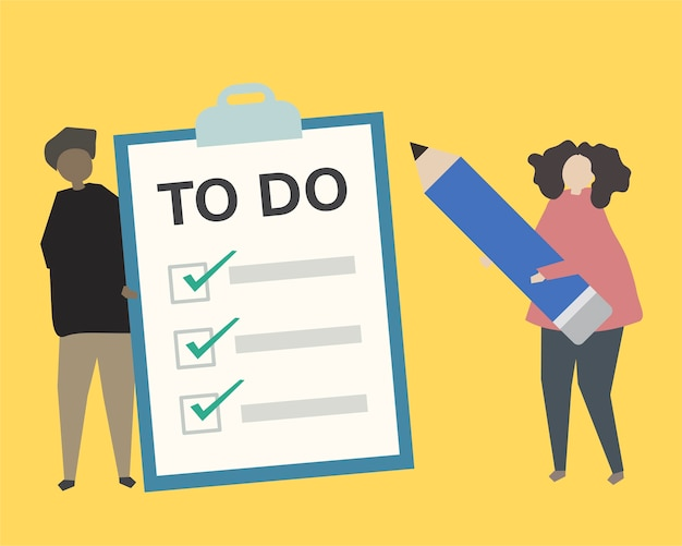 People with to do list illustration