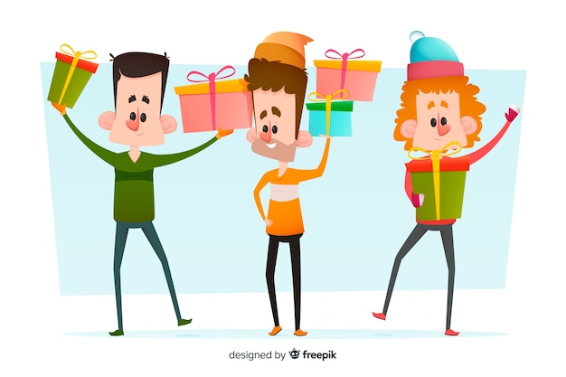 People with long legs holding gifts