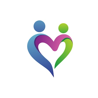 People with love shape logo vector